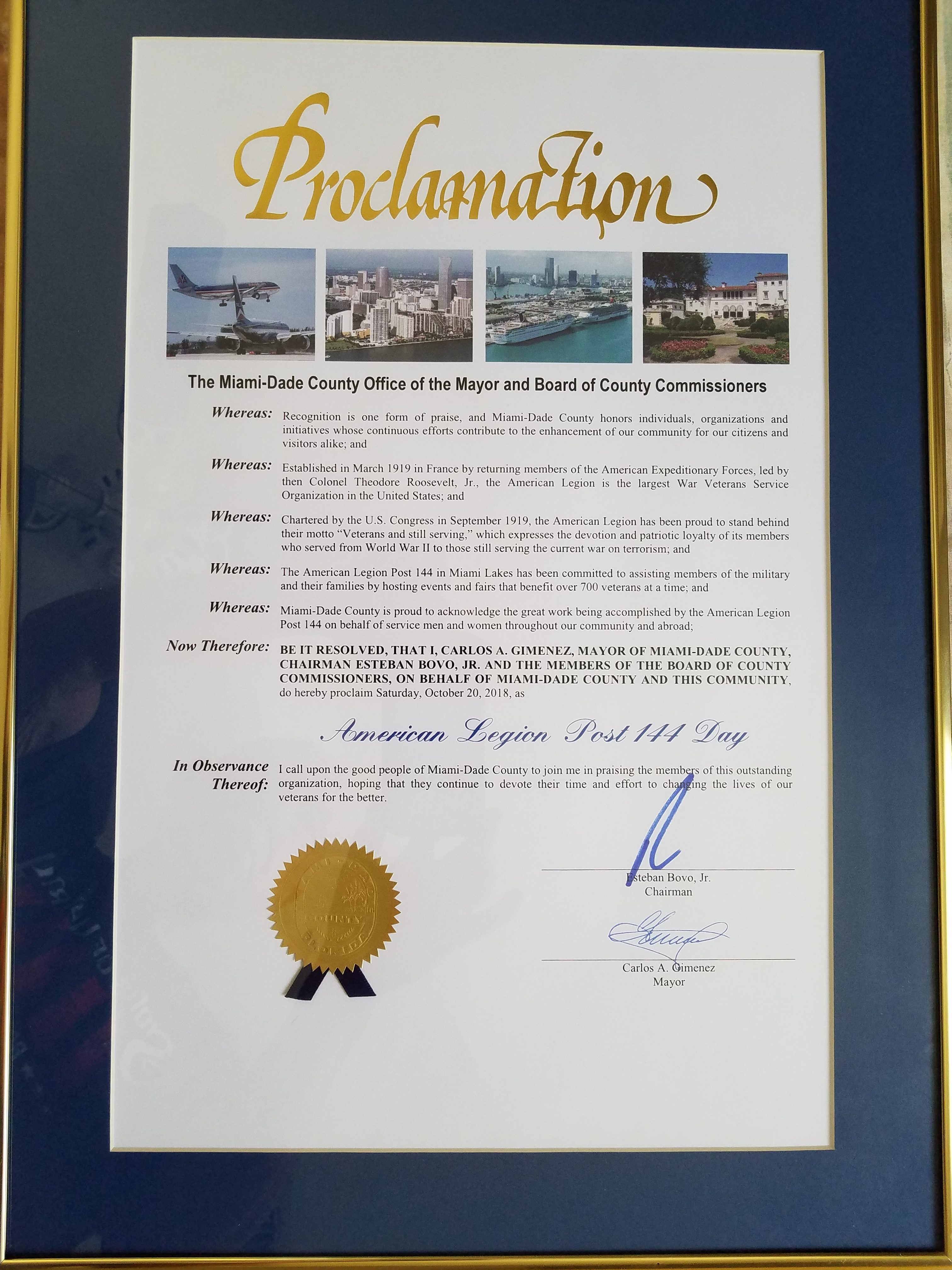 Miami Dade County Proclamation to Post 144
